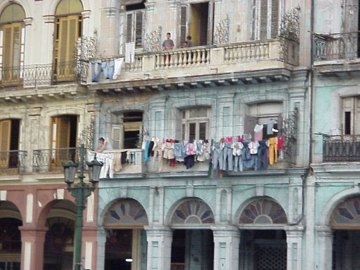 Tenement building in Havana, Cuba where the Fuentes family lives.