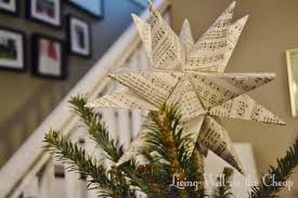Tree Topper made from sheet music
