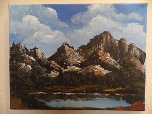 This is a painting I made (in acrylic instead of oils) while following along with Bob on his Mighty Mountain Lake painting.