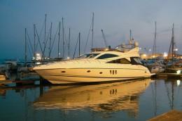A Sunseeker boat moored.