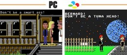 side by side comparison of both the NES and PC versions of Maniac Mansion.