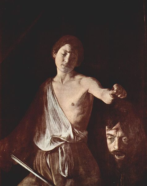 David with Goliaths head. Caravaggio portrays himself as Goliath's head