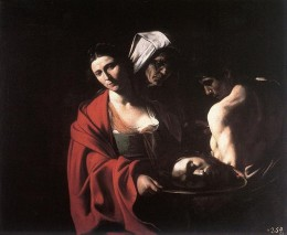 Salome with the head of John the Baptist on a plate. Caravaggio's own head once more.