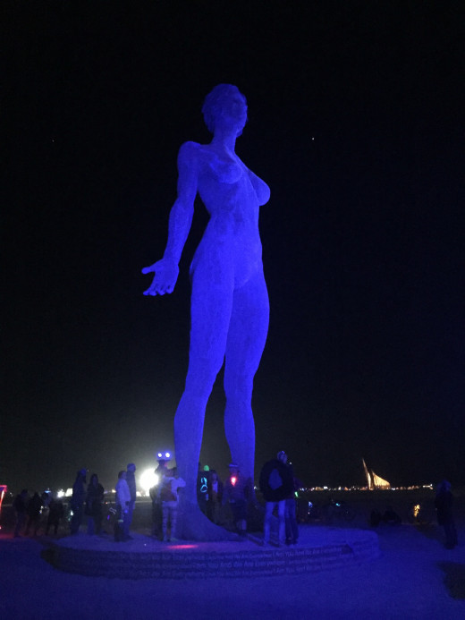 "A picture I took of ""Deja Solis."" She is the third instalment of the Bliss Project for Burning Man. She is a 48-foot tall, steel message that speaks about changing the perspective of feminine sexuality. I immediately thought of the Neverending Story."
