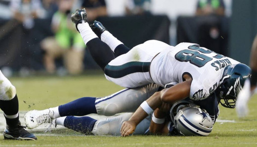 Philadelphia Eagles LB Jordan Hicks sacking (And injuring) Dallas Cowboys QB Tony Romo in Week 2