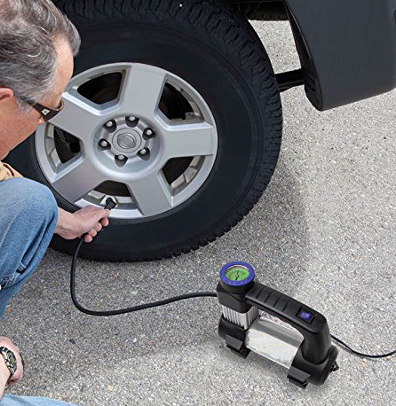 A 12 Volt air compressor means easy topping off at home.