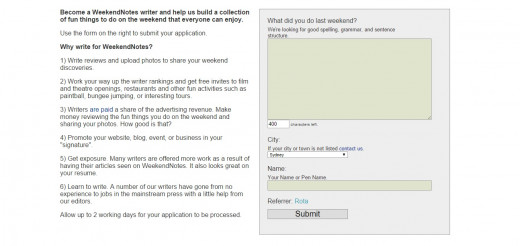 Weekendnotes application page - it's easy to apply.