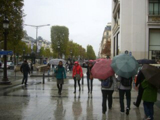 Rainy day in Champs Elysees, Paris  France