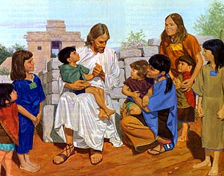 Jesus Christ blesses the Nephite Children