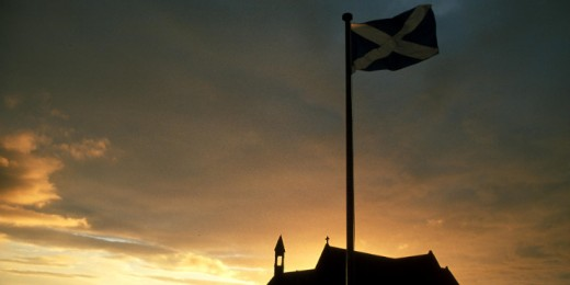 The Saltire, flying above Athelstaneford Church, Haddington