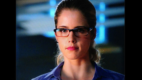 """Rickards as her character in CW's """"Arrow"""": resident tech-wizard Felicity Smoak"""