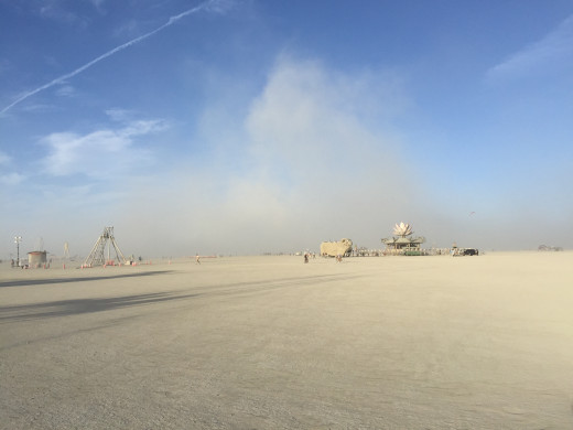 A photo I took of an actual dust storm that blew across the Playa. It was easy to get caught by one of these sandy hurricanes.