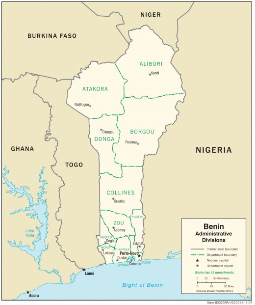 Map of Benin Republic and neighboring countries