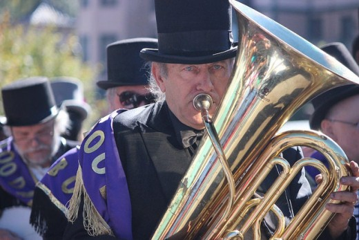 Tuba player, funeral procession preceding the Emma Crawford Coffin Races of Manitou Springs, Colorado.