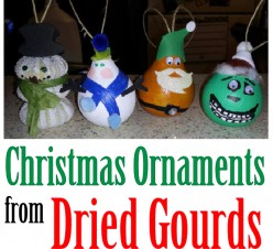 Making Dried Gourd Christmas Tree Ornaments
