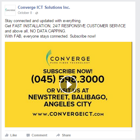 Converge ICT Solutions offfers no data caps for their subscribers.