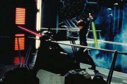 Luke defeating Darth Vader in Return of the Jedi and giving into his anger