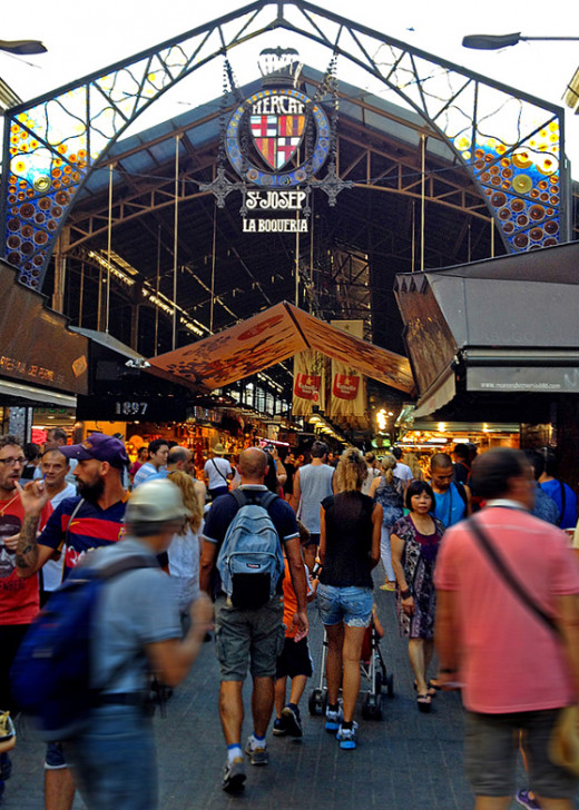 La Boqueria Market's main entrance on La Rambla