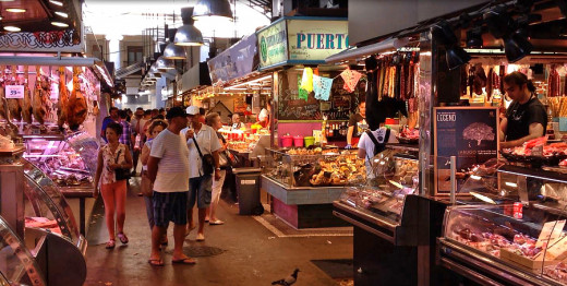 Vendor stalls inside the market