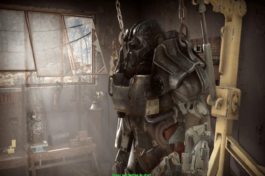 shows armor suit helm, arms and torso