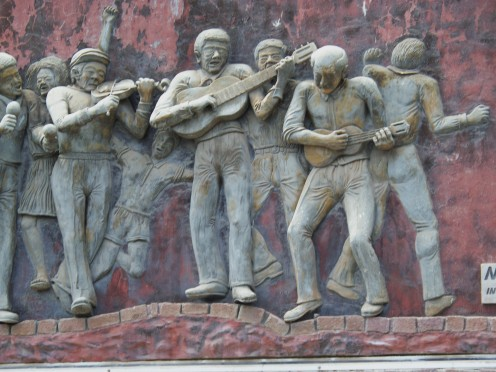 A wall sculpture in Mindelo, the music capitol of Cape Verde