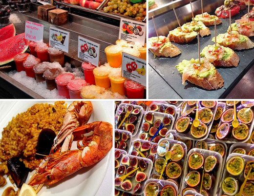 Clockwise from top left: chilled juices; pinchos; ready-to-eat fruit trays; seafood paella