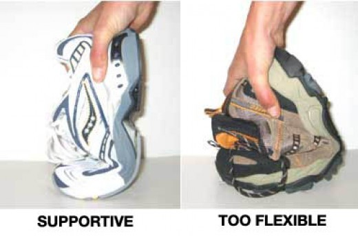 A photo showing you how to check for supportive shoes. If they bend at the toe, that is good. But if the whole shoe bends, it will not offer the support that you need.