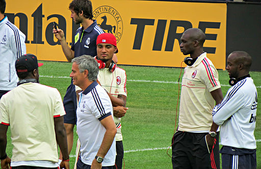 Mourinho with Inter- Milan players prior to a pre-season match with Madrid