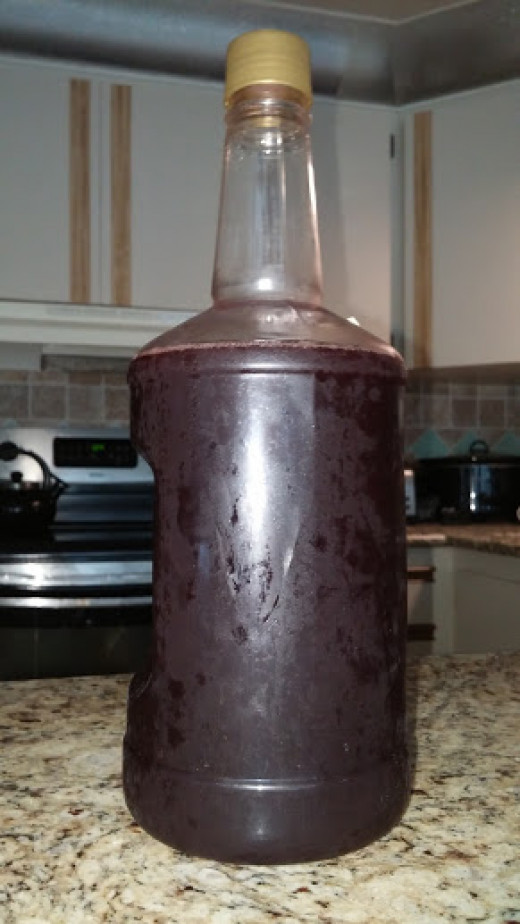Homemade wine made with Concord grapes.