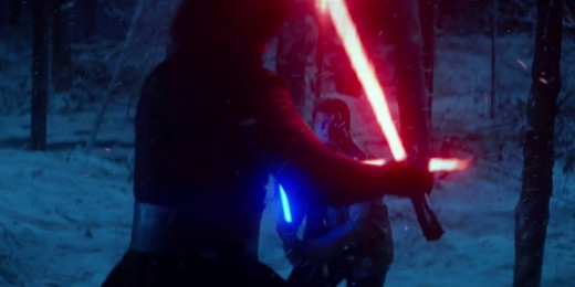 Finn and Kylo Ren lightsaber duel