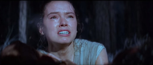Is Rey crying over Finn, Han Solo, or even her defeated brother (Kylo Ren)?