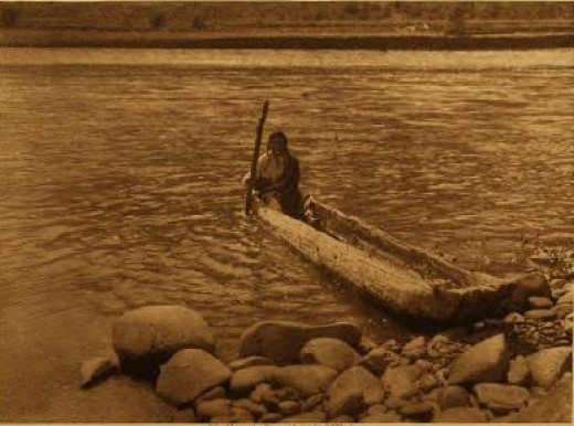 Artist's representation what ancient use of dugout canoes may have looked like