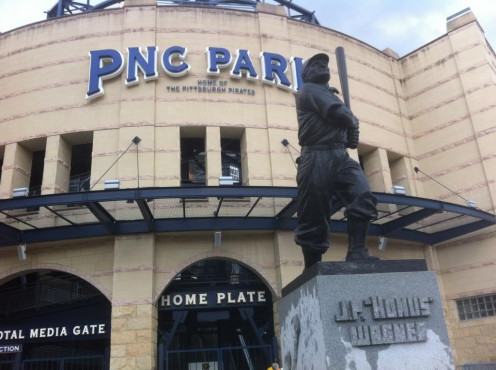Dante and I sat on the concrete base of this statue outside PNC Park to eat our Thanksgiving dinner in the wind, rain and cold. We still felt good.