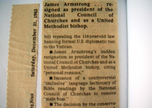 James Armstrong . . . resigned as president of the National Council of Churches and as a United Methodist bishop.  The Dallas Morning News, Dec. 31, 1983