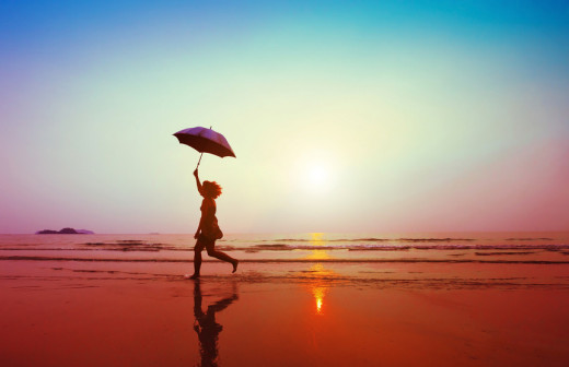 Even if it's raining, you can have a wonderful time during your beach vacation if you keep a positive attitude.