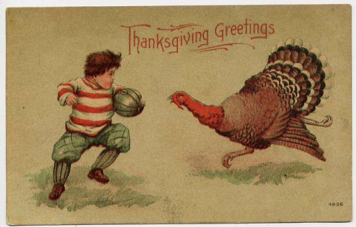 In days of yore, Thanksgiving then, like now, had its own holiday cards.  This proves there were smiling faces before smiley faces and emoticons :).