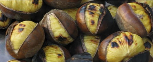 Chestnuts roasted traditionally by an open fire.