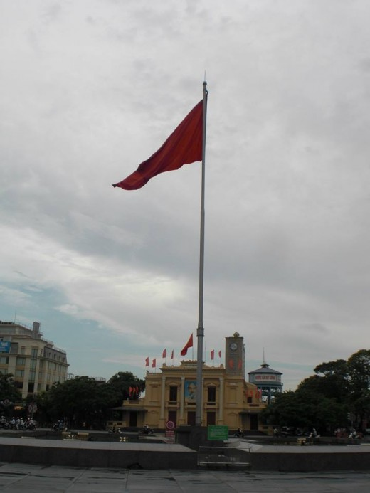 The city square in front of Hai Phong City Opera Hall