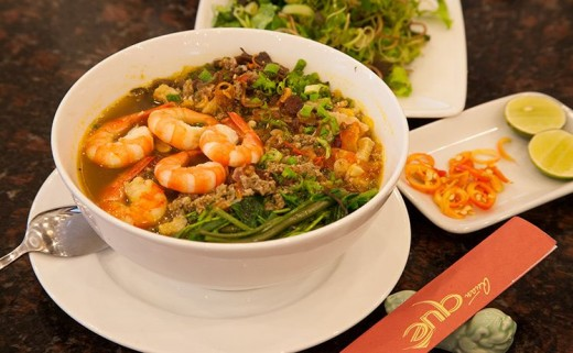 Banh Da Cua (Bánh Đa Cua or Reddish Rice Noodle with Fresh-Water-Crab Sauce)