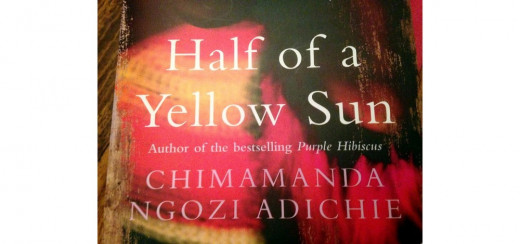 "Part of the cover of my own copy of ""Half of a Yellow Sun"", by Chimamanda Ngozi Adichie.  The cover differs from the currently available editions on Amazon."