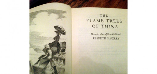 "The inside title page of ""The Flame Trees of Thika"" by Elspeth Huxley, showing part of the illustration."