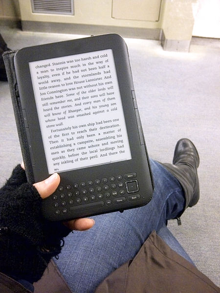 Reading an e-book electronic book on public transit train