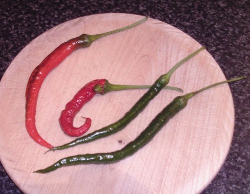 Red and green medium strength chillies