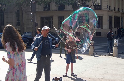 Bubbles maker on a public square.