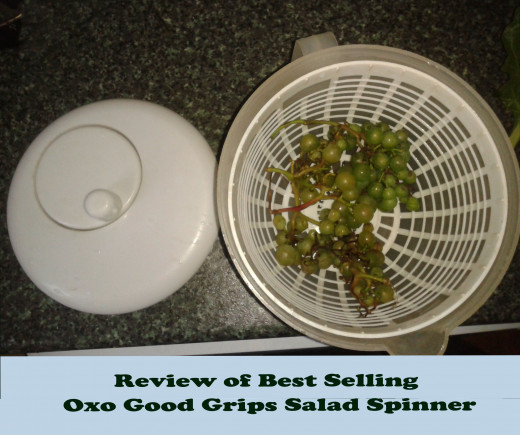 My very old salad spinner - on the lid you can see the little handle and spinning mechanism.  The Oxo Good Grips Salad Spinner