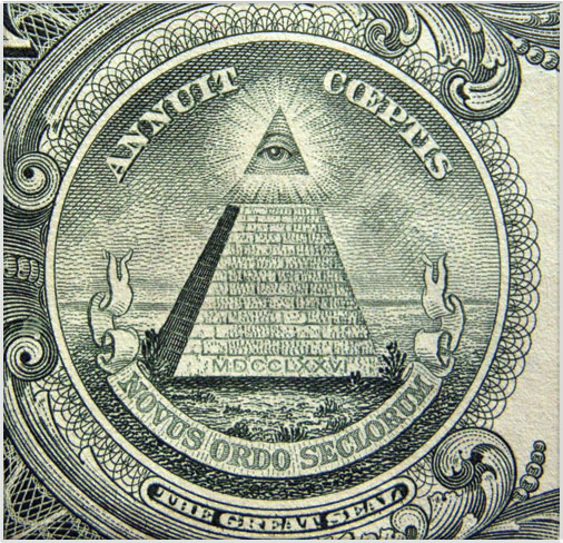 Back of US dollar bill The all seeing eye at the top of the pyramid