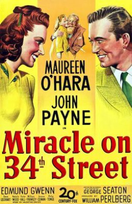 """The beautiful Maureen O'Hara stars in the original """"Miracle on 34th Street"""". She passed away in October 2015."""