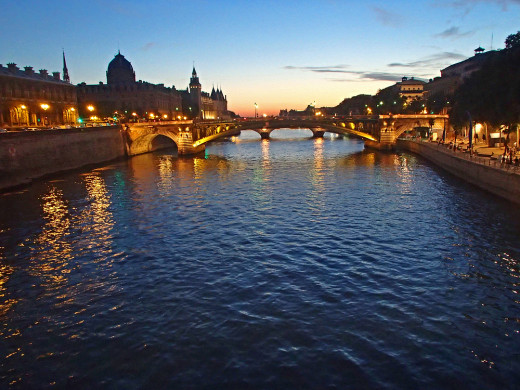 The Seine after sunset.