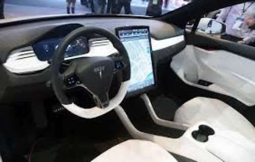 A look at the sleek and futuristic interior of the Tesla Model X