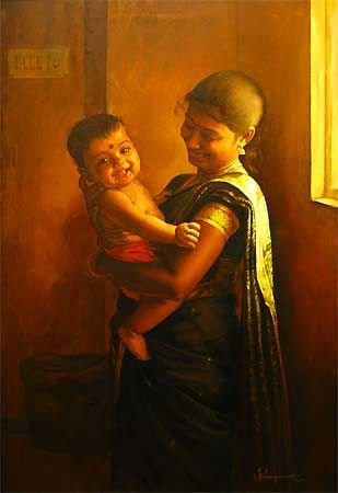 Murugan with his mother
